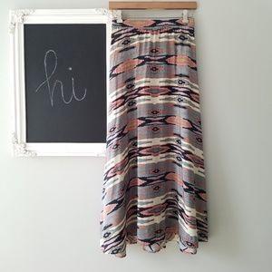 Tucker   Crepe Silk Ikat Long Midi Skirt Small
